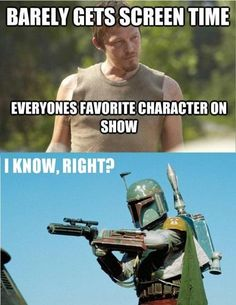 Love Daryl. Love Walking Dead.  Love Star Wars.  Not too sure Boba Fett is my favorite character...