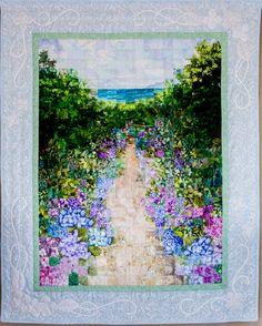 「紫陽花」 - ウォーターカラーキルト #watercolorquilt #quilt