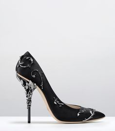 Ralph & Russo - Haute Couture Collection SHOES - STYLE 14-EDEN PUMPS-BLACK SATIN WITH GUNMETAL LEAVES