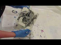 (073) black and white acrylic pour - YouTube