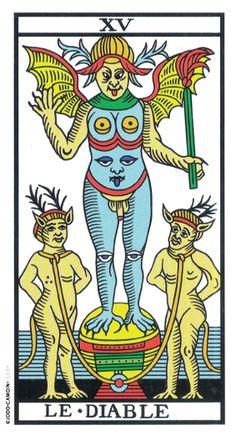 Philippe Camoin and Alexandre Jodorowsky, Tarot de Marseille, Devil (Trump XV) Major Arcana Cards, Tarot Major Arcana, Daily Tarot Reading, Art Graphique, Oracle Cards, Tarot Decks, Archetypes, Tarot Cards, Occult