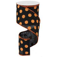 "Large Polka Dot Ribbon - Orange and Black (RA1454TR) - 4"" x 10 yds"