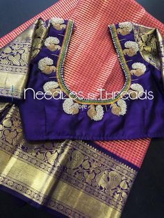 Lovely designer blouse with silk saree Read about . Lovely designer blouse with silk s Peacock Blouse Designs, Pattu Saree Blouse Designs, Stylish Blouse Design, Fancy Blouse Designs, Bridal Blouse Designs, Traditional Blouse Designs, Traditional Sarees, Maggam Work Designs, Designer Blouse Patterns