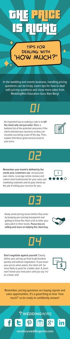 Check out our latest infographic with tips for how to deal with top pricing questions so your wedding business can close even more sales in the New Year!