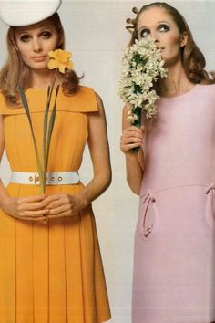 David Bailey, 1968. yellow dress, white hat, pink dress, buttercup flowers