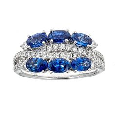 Sapphire & Diamond Ring in 18K White Gold