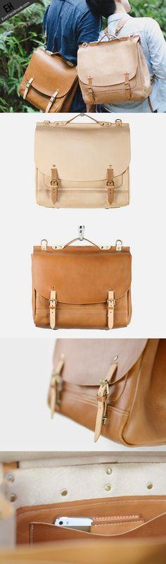 Handmade leather backpack messenger bag  for women men