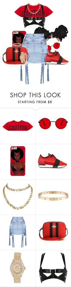 """Bloody moves"" by thaofficialtrillqueen ❤ liked on Polyvore featuring Balenciaga, Cartier, Topshop, Gucci, Rolex and Bordelle"