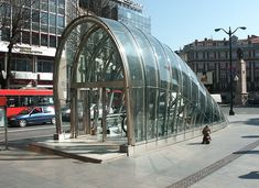 The entrances for the Metro Bilbao were designed by Norman Foster