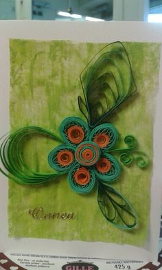 Onnittelukortti/congratulation card by quilling and combing
