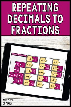 Check out this fun and engaging math activity to practice converting repeating decimals to fractions. Your middle school math, Algebra, and 8th grade math students will love this activity which is better than any worksheet. This Google slides and digital activity is perfect for distance learning and makes lesson planning easy. Click here to see more about this product. #makesenseofmath Fraction Activities, Fun Math Activities, Math Resources, 8th Grade Math, Eighth Grade, Math Lesson Plans, Math Lessons, Algebra Games