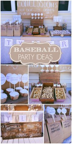 A backyard Baseball boy birthday party with hot dogs, peanuts, popcorn, cracker jacks and a game of baseball!  See more party planning ideas at CatchMyParty.com!
