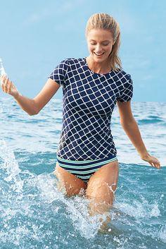 Women's SwimMates Rope Cap Sleeve Crewneck Swim Tee Rash Guard from Lands' End #LandsEndSunSafe