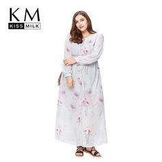 d0fb7ed89478 Kissmilk Plus Size Fashion Women Clothing Casual Print Dress Long Sleeve O- Neck Long Big Size Dress Vestidos