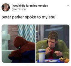 peter parker Peter Parker Spider-Man Into the Spiderverse Marvel Funny, Marvel Memes, Marvel Dc Comics, Spider Verse, Tom Holland, Dc Memes, Funny Memes, Hilarious, Spiderman