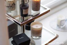 A tray for scented candles #tray #diptyque #balmuir #byredo #efvaattling #cobello #interior  http://divaaniblogit.fi/charandthecity/2014/11/06/cobello-kerrostarjotin/