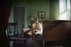 "Edward Hopper, ""Woman and man on a bed"" remake.  Photographer: Richard Tuschman"