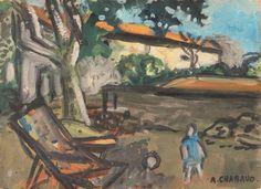 Auguste CHABAUD (1882-1955) Transat dans la cour Huile sur carton Signée en bas à droite 24 x 33 cm - Leclere - Maison de ventes - 14/10/2017