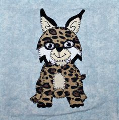 Bobcat or lynx PDF applique pattern; North American forest animal quilt; kid's…