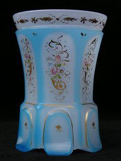 Antique Bohemian blue & white flash cut opaline glass vase