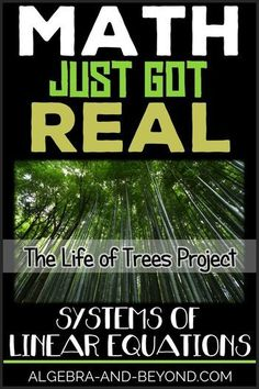 A real world project comparing different growth rates of trees. Students analyze linear systems of equations and graph. Algebra Projects, Algebra Activities, Math Resources, Math Games, Math Math, Math Fractions, Math Teacher, Math Classroom, Teaching Math
