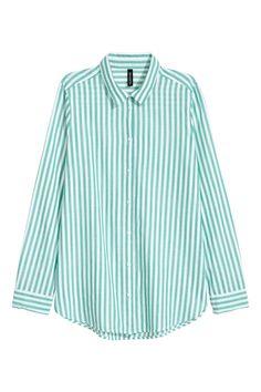 Bomullsskjorta - Grön/Vitrandig - DAM   H&M SE 1