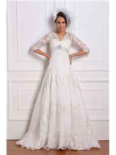 Fantastic Empire 3/4-Length Sleeve V-neck Lace Renata's Wedding Dress