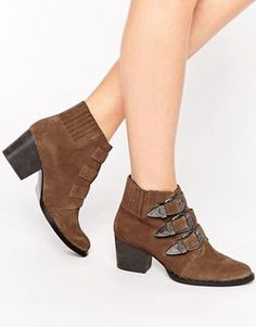 ASOS REBEL Suede Western Ankle Boots