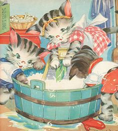 Oversize book - the three little kittens - 1941 - illustrations by ruth e. Vintage Cat, Vintage Children's Books, Vintage Postcards, Vintage Pictures, Vintage Images, Art Simple, Gatos Cats, Cat Cards, Vintage Prints
