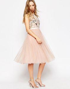 Image 1 ofNeedle & Thread Floral Frill Tulle Midi Dress