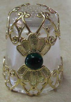 Gold Filigree Thimble Fan Design w Green CTR beautiful!