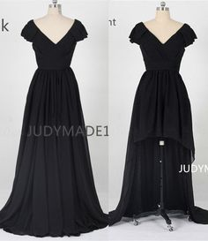 v neck double shoulderscap sleeve backless high low by JUDYMADE1, $95.00