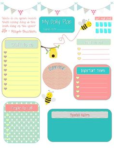 Whimsical Bees Daily Planning Sheet for Filofax or Erin Condren Life Planner