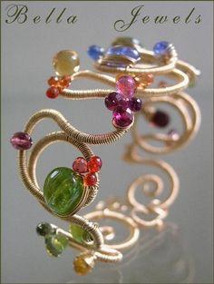 Etsy :: bellajewelsII :: Curve Appeal...Signature Original Gemstone Studded Gold Filled Sculptural Bracelet Cuff