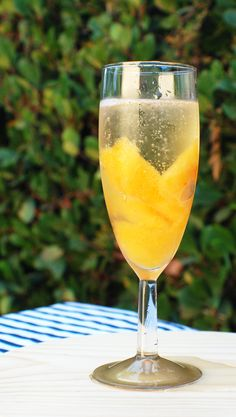 Frozen peach pop champagne cocktail.