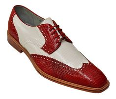 "Belvedere ""Pergola"" Red/White Genuine Lizard Dress Shoes # 1452 Size 10.5 #Belvedere #Oxfords"