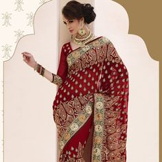 Stunning bridal sarees in a variety of designs. Choose from a vast bridal sarees collection or pick your favorite bridal lehenga in gorgeous colors and bespoke fabrics. Saree Collection, Bridal Collection, Bridal Sarees Online, Maroon Saree, Indian Bridal Wear, Women Life, Bridal Lehenga, Blouse, Fabric