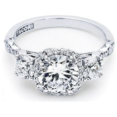 Tacori Dantela Collection 3 Stone Round prong Set and ...