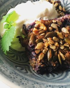 Bakt havregrøt - Godt for magen Breakfast Bowls, Black Eyed Peas, Fodmap, Granola, Oatmeal, Gluten Free, Beef, Healthy, Desserts