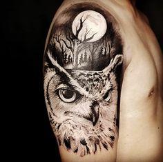 Owl Eye Tattoo, Owl Tattoo Small, Owl Tattoo Drawings, Arm Tattoo, Animal Tattoos For Men, Tattoos For Guys, Body Art Tattoos, Sleeve Tattoos, Portrait Tattoos