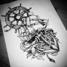 "Dotwork forest nature compass tattoo designs, all of these designs are included in my ""Advent… - compass tattoos Marine Tattoos, Navy Tattoos, Forarm Tattoos, Anchor Tattoos, Trendy Tattoos, Leg Tattoos, Body Art Tattoos, Ship Tattoo Sleeves, Leg Sleeve Tattoo"