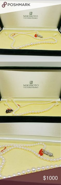 Mikimoto Pearl Necklace in Original Box Estate Find! Never worn still in Original box these are genuine Mikimoto Akoya Pearls with Vintage Sterling Silver clasp. Why the red threads? When bought from Mikimoto Japan pearl strands came like this so you could  knot them (European Style) or string w/o knot (Asian Style) and change the clasp if preferred. Left as found so you know they are original and authentic.  The pearls range from 7.5 to 3.5-4 mm. 19 inches as is, knots would add to that…
