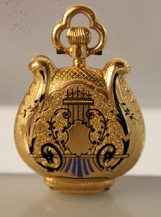 Lot #22: Marchand and Sandoz Lyre Form Pocket Watch, 18kt Gold