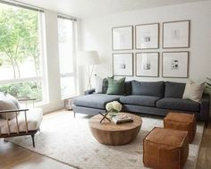 Living Room Pouf, Living Room Sectional, Living Room Grey, Home Living Room, Sectional Sofas, Living Room Ideas With Grey Couch, Charcoal Sofa Living Room, Modern Sectional, Fabric Sectional