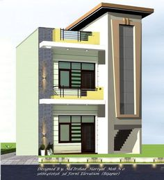 46 Trendy Ideas For House Design Exterior Simple Facades House Front Wall Design, Small House Design, Modern House Design, 3 Storey House Design, Bungalow House Design, Front Elevation Designs, House Elevation, Building Elevation, 20x40 House Plans