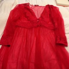Sexy sheer robe NWOT.... I hundred percent nylon red robe sheer three buttons at bust line lace also around neck and bust line and cuffs of sleeves long sleeves and long robe Daphne Grey Other