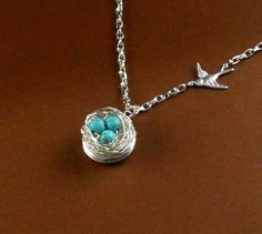 Mother's Day Locket Robin Egg Blue Bird Nest turquoise beads Silver Necklace