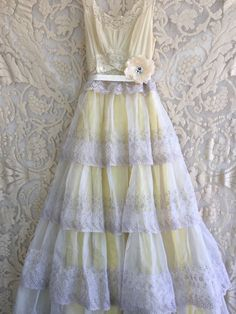 taupe & buttercream tiered embroidered organdy boho wedding dress by mermaid miss Kristin