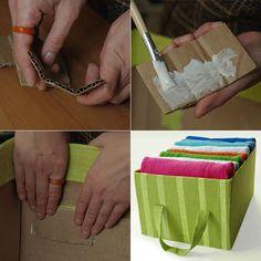How to make fabric covered cardboard storage box diy & cra Decorative Storage Bins, Diy Storage Boxes, Storage Containers, Storage Ideas, Decorative Boxes, Organize Fabric, Fabric Bins, Fabric Storage, Cardboard Storage