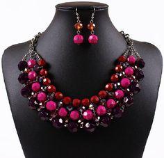 Qiyun (TM) Multiple Round Beaded Torsade Chunky Bib Choker Collar Necklace Earrings Set